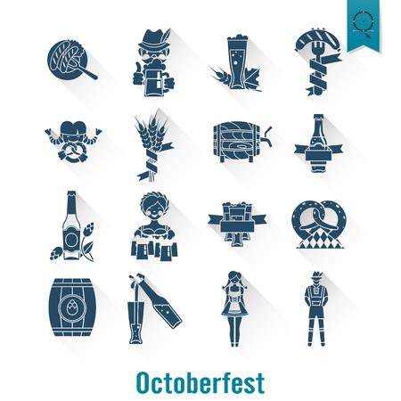 lobster: Oktoberfest Beer Festival. Long Shadow. Flat design style. Vector Illustration