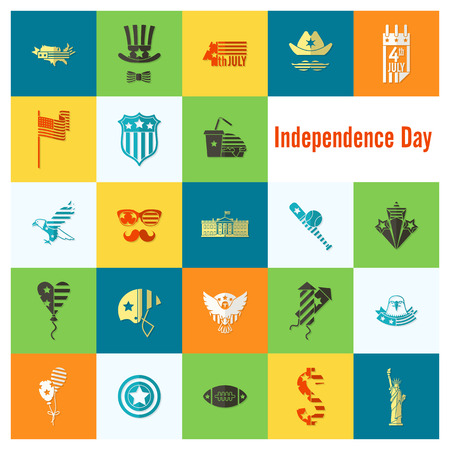 calvo: 4 de julio, Día de la Independencia de los Estados Unidos, iconos planos simples. Foto de archivo