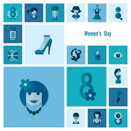 march 8: Design Elements for International Womens Day March 8, Icons. Vector