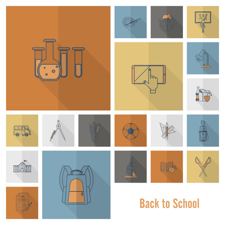 color book: School and Education Icon Set. Flat design style. Vector