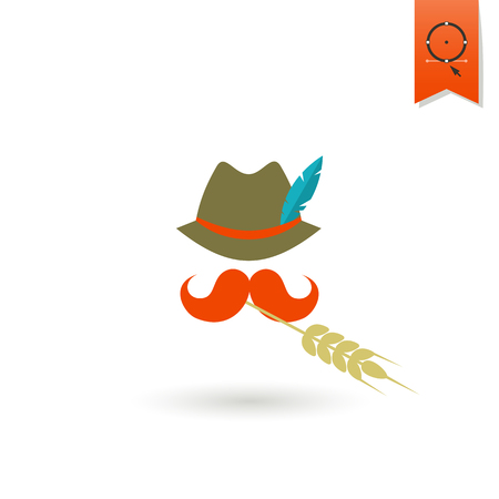 hat with feather: German Hat with Feather, Moustache and Wheat. Oktoberfest Beer Festival. Flat design style.