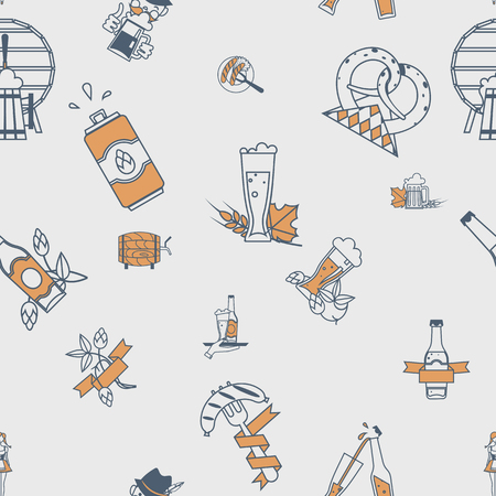 vintage pattern background: Oktoberfest Beer Festival. Seamless Pattern. Flat design style. Vector