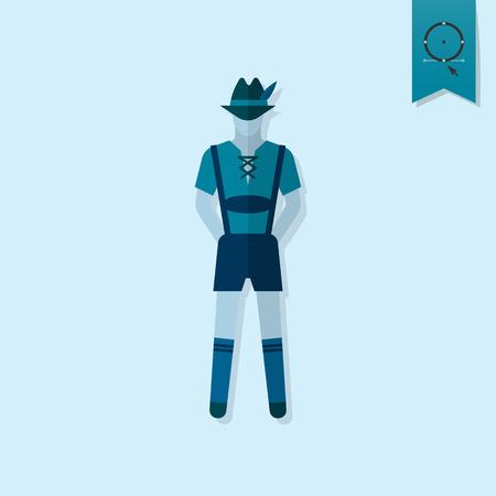 suspenders: Man in Traditional Bavarian Suit. Oktoberfest Beer Festival. Flat design style.