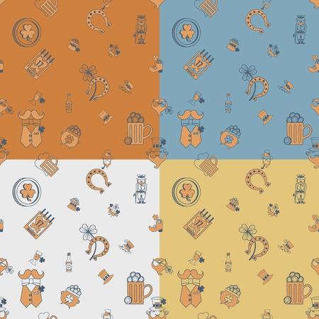 quatrefoil: Saint Patricks Day Seamless Pattern. Four Background in Different Colors. . Clean Work Minimum Points Stock Photo
