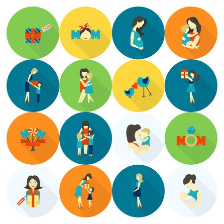 De gelukkige Dag van eenvoudige vlakke pictogrammen. Vector, Clean Work, Minimum Points