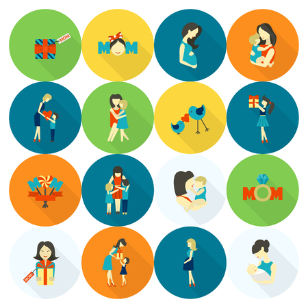 pregnant mom: Happy Mothers Day Simple Flat Icons. Vector, Clean Work, Minimum Points