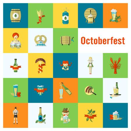lobster: Oktoberfest Beer Festival. Flat design style. Stock Photo