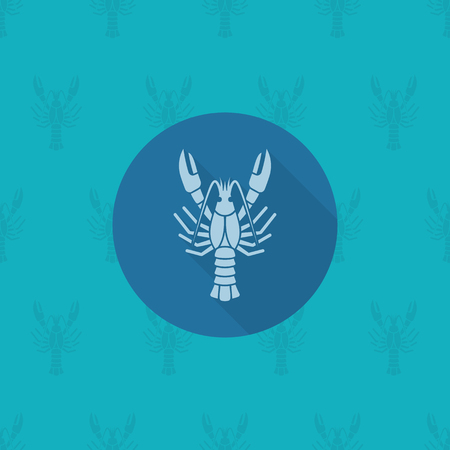 boiled: Boiled Lobster. Oktoberfest Beer Festival. Long Shadow. Flat design style. Stock Photo