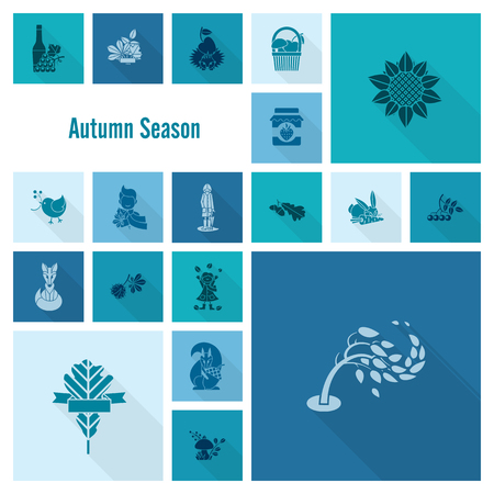 grapes and mushrooms: Set of Flat Autumn Icons. Simple and Minimalistic Style.