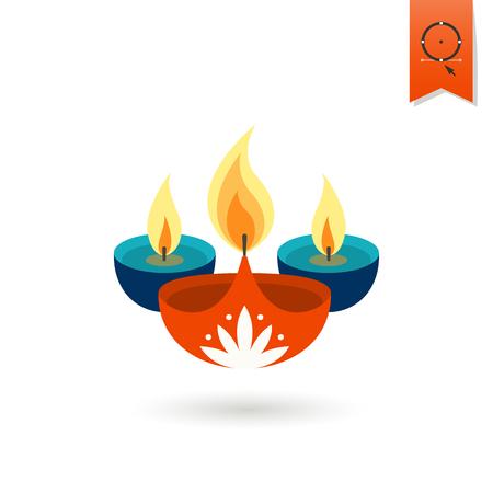 an oil lamp: Diwali. Icono Festival indio. Simple y minimalista Estilo. Vector