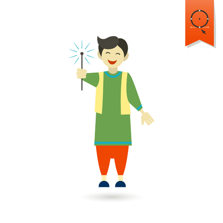cosplay: Diwali. Indian Festival Icon. Simple and Minimalistic Style. Vector