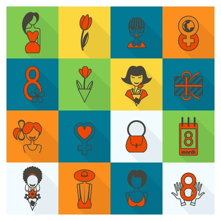 calendar day: Design Elements for International Womens Day March 8, Icons.