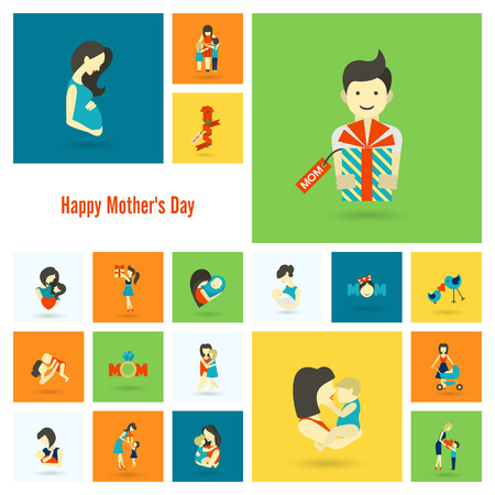 mujer con rosas: Happy Mothers Day Simple Flat Icons. Vector, Clean Work, Minimum Points