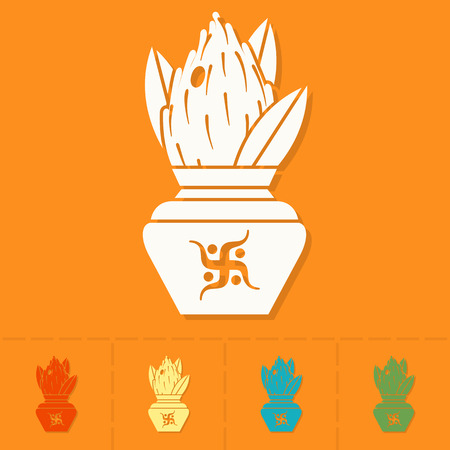 ghatashtapana: Diwali. Indian Festival Icon. Simple and Minimalistic Style. Vector