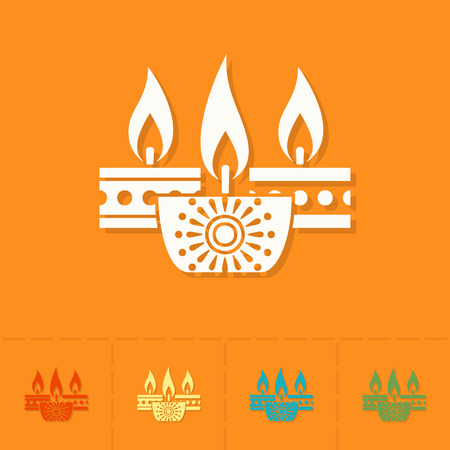 glows: Diwali. Indian Festival Icon. Simple and Minimalistic Style. Vector