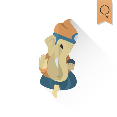 ganapati: Diwali. Indian Festival Icon. Simple and Minimalistic Style. Vector