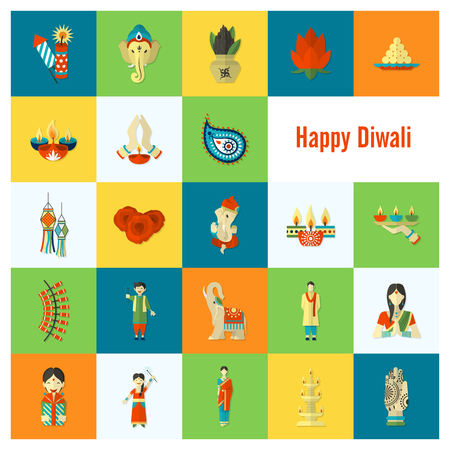 god: Diwali. Indian Festival Icons. Simple and Minimalistic Style. Vector