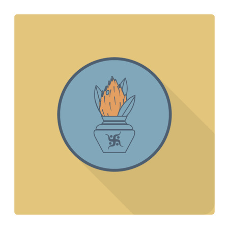 kalasha: Diwali. Indian Festival Icon. Simple and Minimalistic Style.