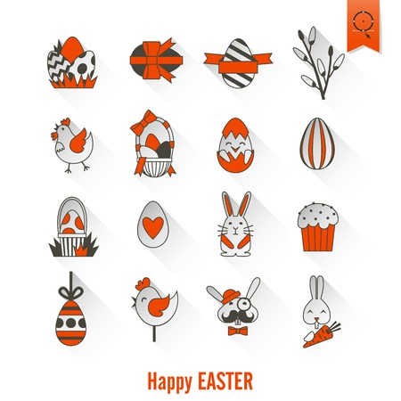 red cross red bird: Celebration Easter Icons.  Clean Work Minimum Points