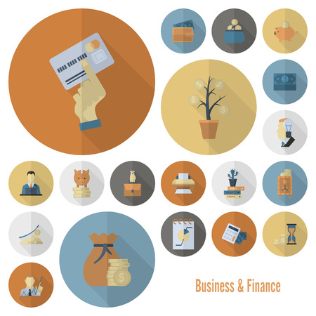 cash: Business and Finance, Flat Icon Set. Simple and Minimalistic Style. Vector