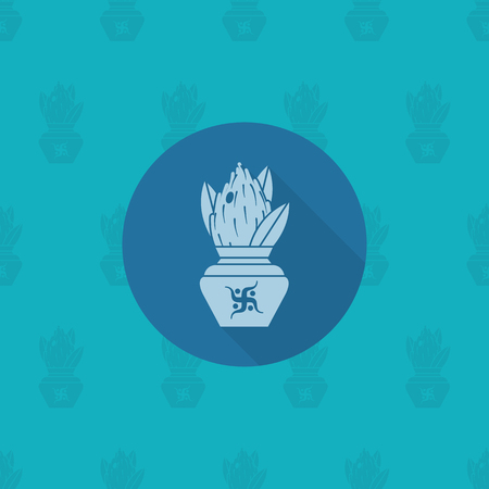 kalasha: Diwali. Indian Festival Icon. Simple and Minimalistic Style. Vector