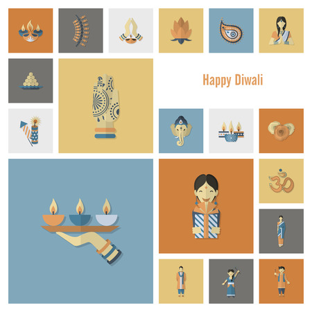 ganesha: Diwali. Indian Festival Icons. Simple and Minimalistic Style. Vector