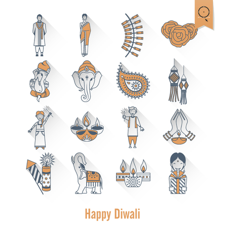 india culture: Diwali. Indian Festival Icons. Simple and Minimalistic Style. Vector