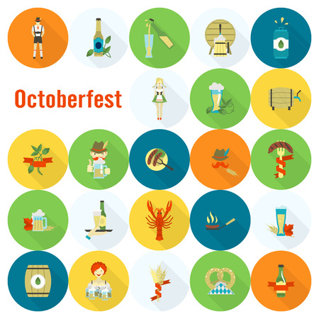 lobster: Oktoberfest Beer Festival. Long Shadow. Flat design style. Stock Photo