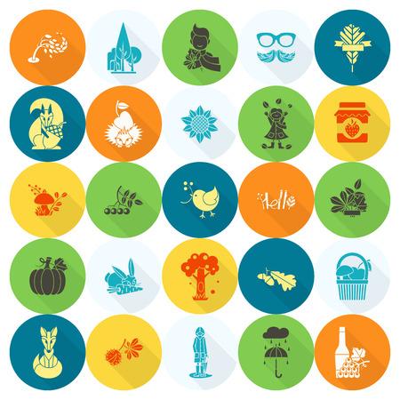 arbol de manzanas: Conjunto de planos de oto�o Iconos. Simple y minimalista Estilo.