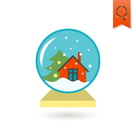 christmas snow globe: Vector Christmas Snow Globe. Colorful. Single Flat Icon