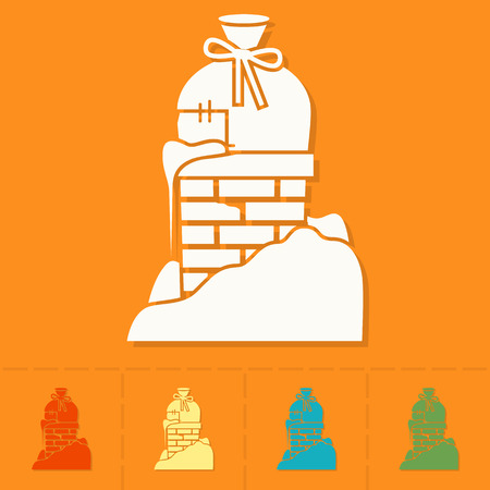 chimney: Christmas Gift in Chimney. Colorful. Single Flat Icon . Vector Illustration
