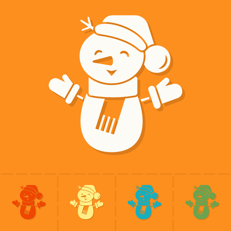 flat nose: Funny Snowman With Scarf . Colorful. Single Flat Icon . Vector