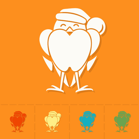 christmas cap: Funny Bird Bullfinch in Christmas Cap. Colorful. Single Flat Icon . Vector Illustration