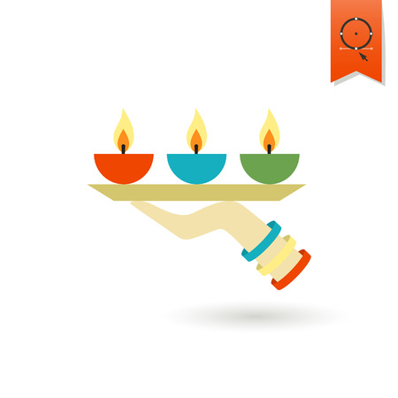 glows: Diwali. Indian Festival Icon. Simple and Minimalistic Style. Stock Photo