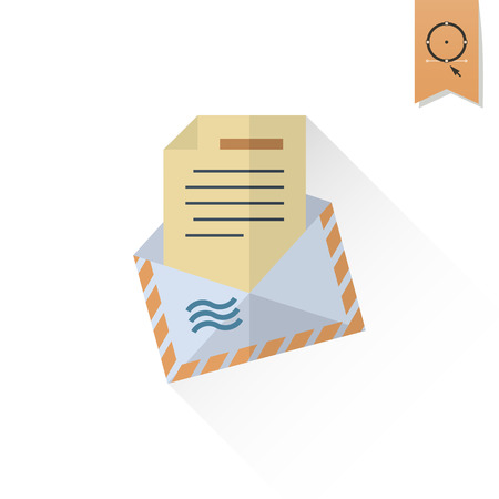 envelope icon: Vector Christmas Envelope. Long Shadow. Retro Color. Single Flat Icon Illustration