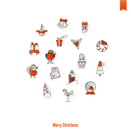 long socks: Christmas and Winter Icons Collection. Long Shadow. Simple and Minimalistic Style. Vector Illustration