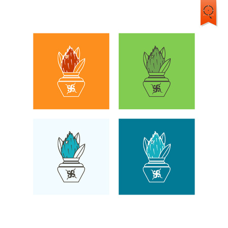 kalasha: Diwali. Indian Festival Icon. Simple and Minimalistic Style. Stock Photo