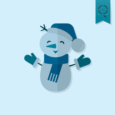 flat nose: Funny Snowman With Scarf . Monochrome color. Single Flat Icon . Vector