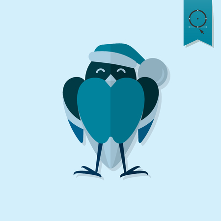 christmas cap: Funny Bird Bullfinch in Christmas Cap. Monochrome color. Single Flat Icon . Vector Illustration