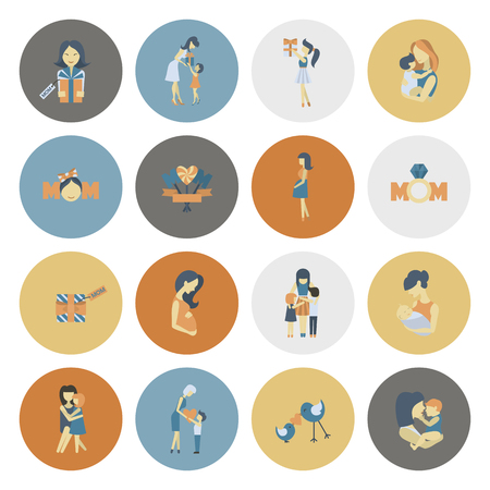 baby and mother: Happy Mothers Day Simple Flat Icons. Vector, Clean Work, Minimum Points