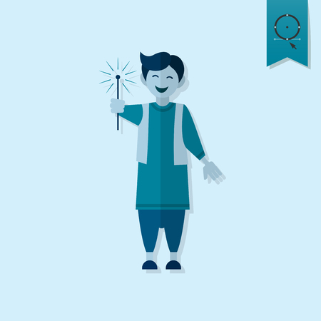 sarong: Diwali. Indian Festival Icon. Simple and Minimalistic Style. Stock Photo