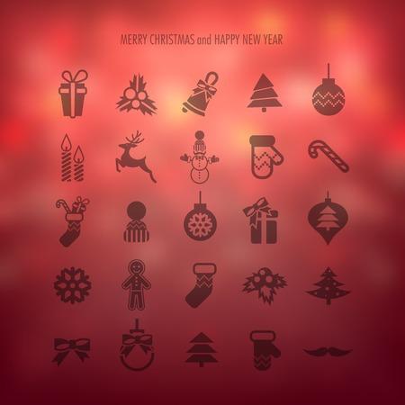 cajas navide�as: Feliz Navidad y Feliz A�o Nuevo iconos Set. Ilustraci�n. eps 10