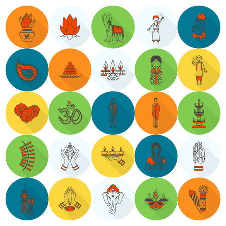 festival: Diwali. Indian Festival Icons. Simple and Minimalistic Style.