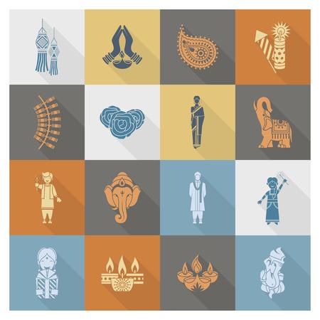 mano de dios: Diwali. India Iconos Festival. Simple y minimalista Estilo. Vector
