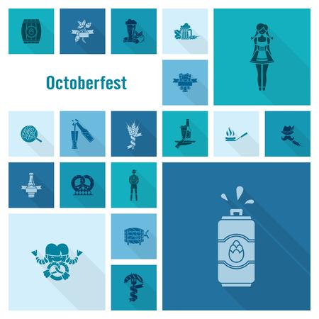 oktoberfest: Oktoberfest Beer Festival. Long Shadow. Flat design style. Stock Photo