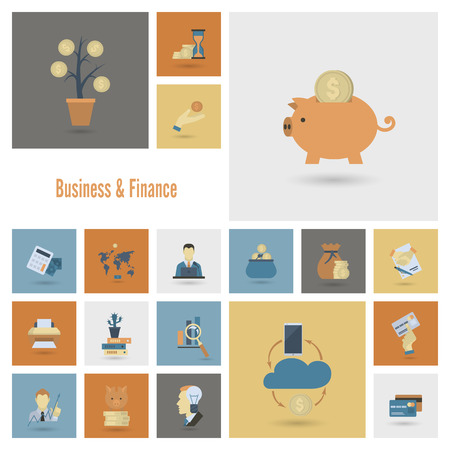 web element: Business and Finance, Flat Icon Set. Simple and Minimalistic Style.
