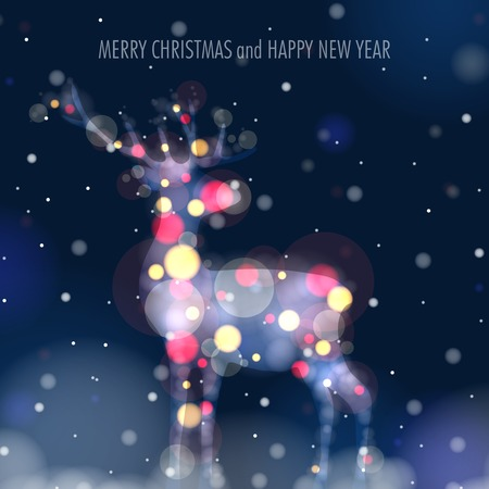 Christmas Deer Silhouette on Glowing Blurry Background. Illustration.