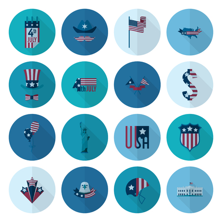 white house: 4th of July, Independence Day of the United States, Simple Flat Icons. Stock Photo