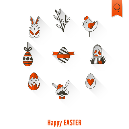 red cross red bird: Celebration Easter Icons. . Clean Work Minimum Points Stock Photo