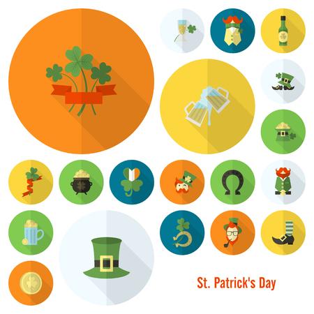 leprechaun on clover: Saint Patricks Day Icon Set. . Clean Work Minimum Points